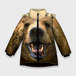 Куртка зимняя для девочки Взгляд медведя цвета 3D-черный — фото 1