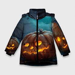 Детская зимняя куртка для девочки с принтом Тыква, цвет: 3D-черный, артикул: 10071139706065 — фото 1
