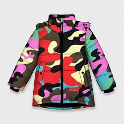 Куртка зимняя для девочки Яркий камуфляж цвета 3D-черный — фото 1
