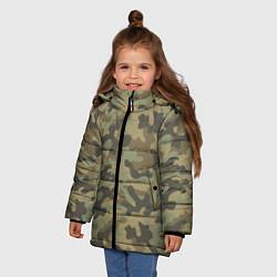 Куртка зимняя для девочки Камуфляж: хаки цвета 3D-черный — фото 2