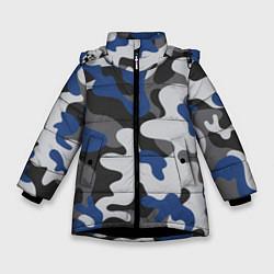 Куртка зимняя для девочки Зимний камуфляж цвета 3D-черный — фото 1