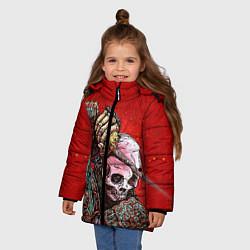 Куртка зимняя для девочки Скелет цвета 3D-черный — фото 2