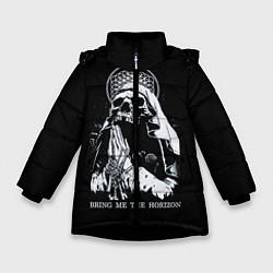 Детская зимняя куртка для девочки с принтом BMTH: Skull Pray, цвет: 3D-черный, артикул: 10073642906065 — фото 1