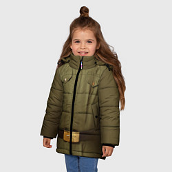 Куртка зимняя для девочки Униформа солдата цвета 3D-черный — фото 2