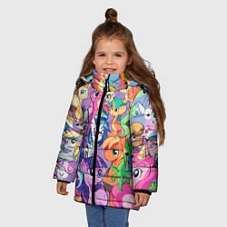 Детская зимняя куртка для девочки с принтом My Little Pony, цвет: 3D-черный, артикул: 10075443806065 — фото 2