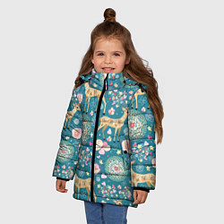 Куртка зимняя для девочки Олений узор цвета 3D-черный — фото 2