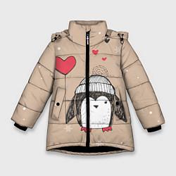 Куртка зимняя для девочки Пингвин с шариком цвета 3D-черный — фото 1