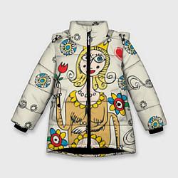 Куртка зимняя для девочки Червовая дама цвета 3D-черный — фото 1