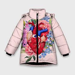 Детская зимняя куртка для девочки с принтом Цветочное сердце, цвет: 3D-черный, артикул: 10079271506065 — фото 1