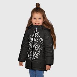 Детская зимняя куртка для девочки с принтом Любовь надпись, цвет: 3D-черный, артикул: 10081366706065 — фото 2