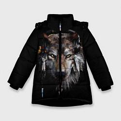 Куртка зимняя для девочки Волк-шаман цвета 3D-черный — фото 1