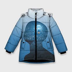 Куртка зимняя для девочки Умный студент цвета 3D-черный — фото 1