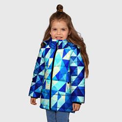 Куртка зимняя для девочки Синяя геометрия цвета 3D-черный — фото 2