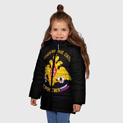 Детская зимняя куртка для девочки с принтом ВС России: вышивка, цвет: 3D-черный, артикул: 10082952806065 — фото 2