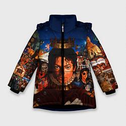 Куртка зимняя для девочки Michael Jackson: Pop King цвета 3D-черный — фото 1