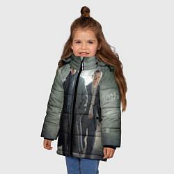 Куртка зимняя для девочки Шерлок и Доктор цвета 3D-черный — фото 2