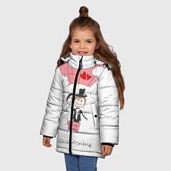 Куртка зимняя для девочки Молодожены на шаре цвета 3D-черный — фото 2