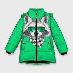 Куртка зимняя для девочки Енот в очках цвета 3D-черный — фото 1