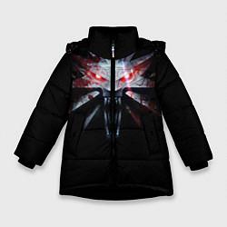 Куртка зимняя для девочки Медальон цвета 3D-черный — фото 1