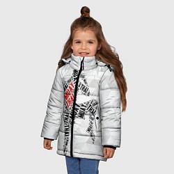 Детская зимняя куртка для девочки с принтом Muay thai Words, цвет: 3D-черный, артикул: 10089320606065 — фото 2