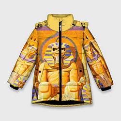 Детская зимняя куртка для девочки с принтом Iron Maiden: Pharaon, цвет: 3D-черный, артикул: 10089880106065 — фото 1