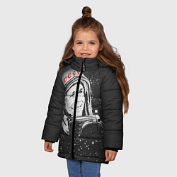 Детская зимняя куртка для девочки с принтом Гагарин в космосе, цвет: 3D-черный, артикул: 10091680406065 — фото 2