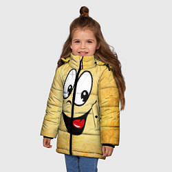 Куртка зимняя для девочки Заразительная улыбка цвета 3D-черный — фото 2