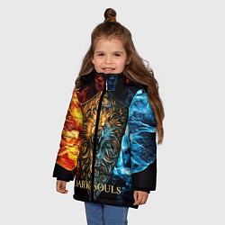 Куртка зимняя для девочки Dark Souls: Lion Shield цвета 3D-черный — фото 2