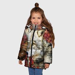 Куртка зимняя для девочки Волк в кустах цвета 3D-черный — фото 2