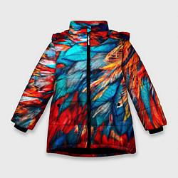 Куртка зимняя для девочки Перья цвета 3D-черный — фото 1