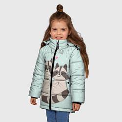 Куртка зимняя для девочки Влюбленные еноты цвета 3D-черный — фото 2