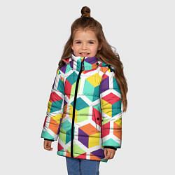 Куртка зимняя для девочки 3D кубы цвета 3D-черный — фото 2