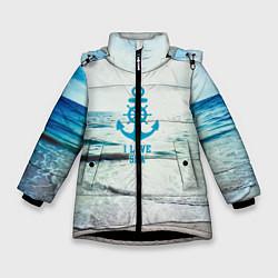 Куртка зимняя для девочки I love sea цвета 3D-черный — фото 1