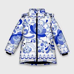 Куртка зимняя для девочки Гжель 2 цвета 3D-черный — фото 1