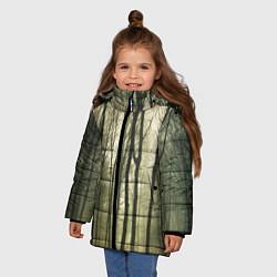 Куртка зимняя для девочки Чарующий лес цвета 3D-черный — фото 2