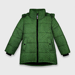 Куртка зимняя для девочки Змеиная зеленая кожа цвета 3D-черный — фото 1