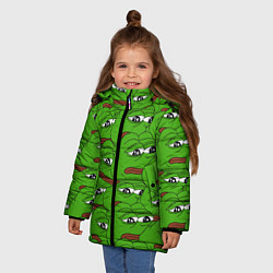 Куртка зимняя для девочки Sad frogs цвета 3D-черный — фото 2
