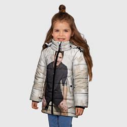 Детская зимняя куртка для девочки с принтом Улыбчивый Месси, цвет: 3D-черный, артикул: 10099708706065 — фото 2