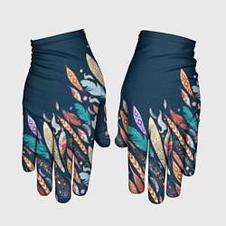 Перчатки Перья цвета 3D — фото 1