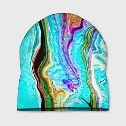 Шапка Цветные разводы цвета 3D — фото 1