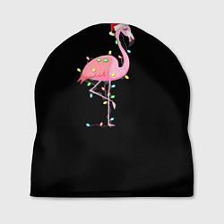 Шапка Новогодний Фламинго цвета 3D — фото 1