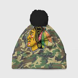 Шапка с помпоном Blackhawks Camouflage цвета 3D-черный — фото 1