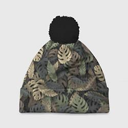 Шапка с помпоном Тропический камуфляж цвета 3D-черный — фото 1
