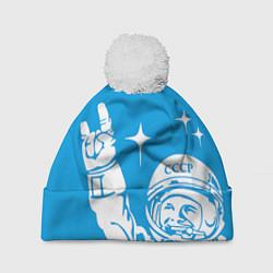 Шапка с помпоном Гагарин рокер цвета 3D-белый — фото 1