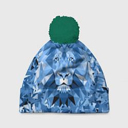 Шапка c помпоном Сине-бело-голубой лев