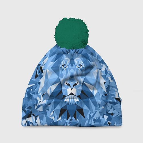 Шапка c помпоном Сине-бело-голубой лев / 3D-Зеленый – фото 1