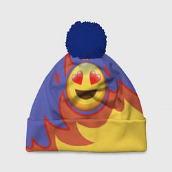 Шапка с помпоном Ты горишь как огонь v1 цвета 3D-тёмно-синий — фото 1