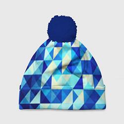 Шапка c помпоном Синяя геометрия