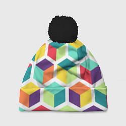 Шапка с помпоном 3D кубы цвета 3D-черный — фото 1