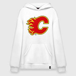 Толстовка-худи оверсайз Calgary Flames цвета белый — фото 1